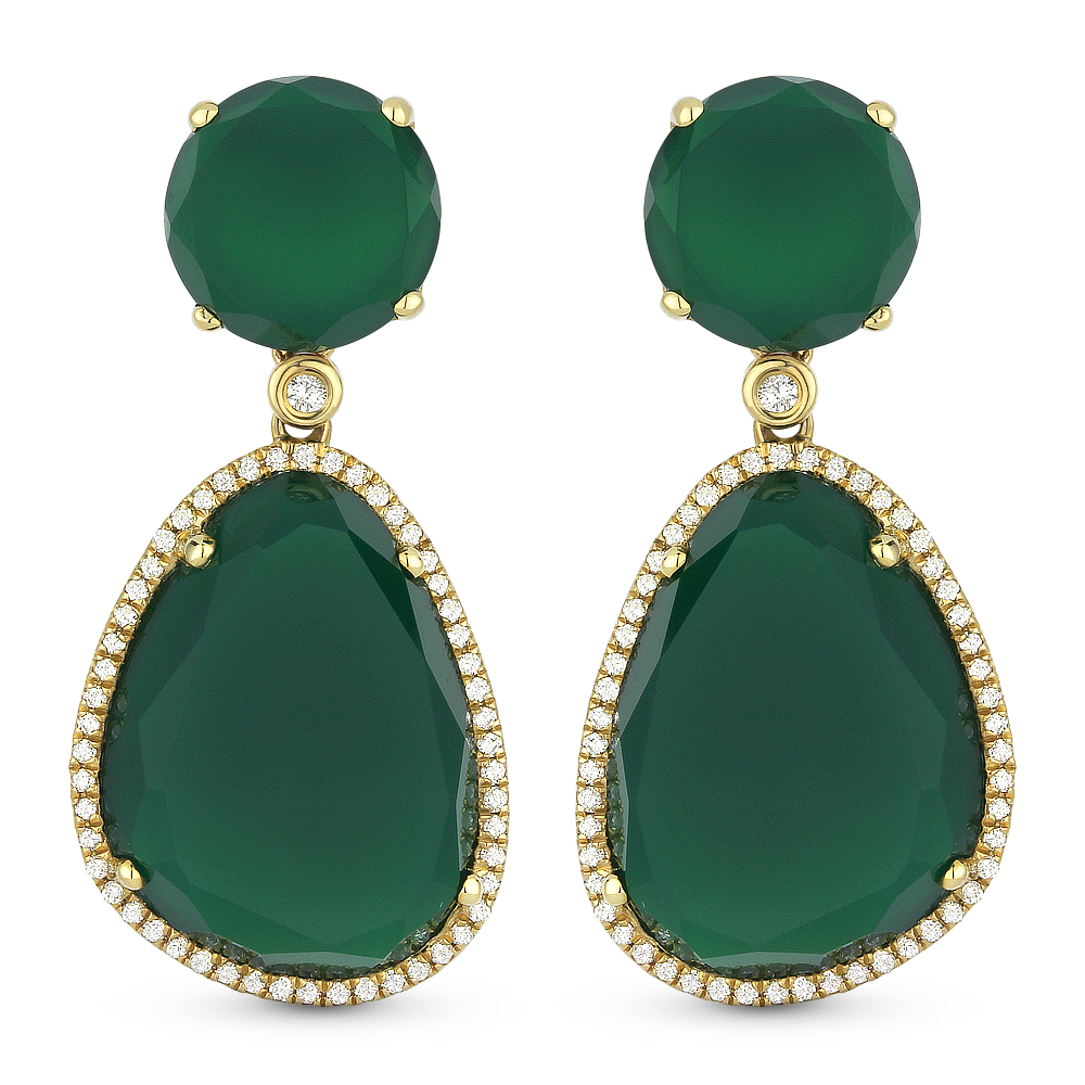 ny drop stars diamond green agate product earrings