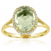 green amethyst diamond gold ring