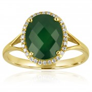 green agate gold diamond ring
