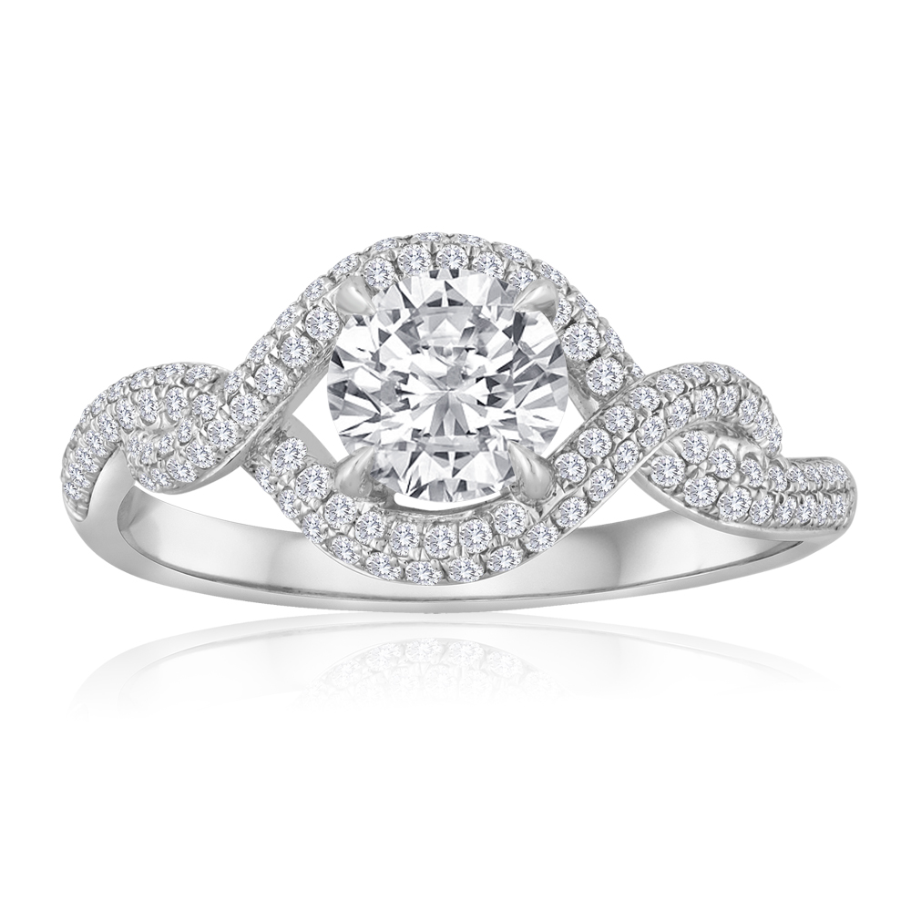 Round Diamond Twisted Pave Band Engagement Ring