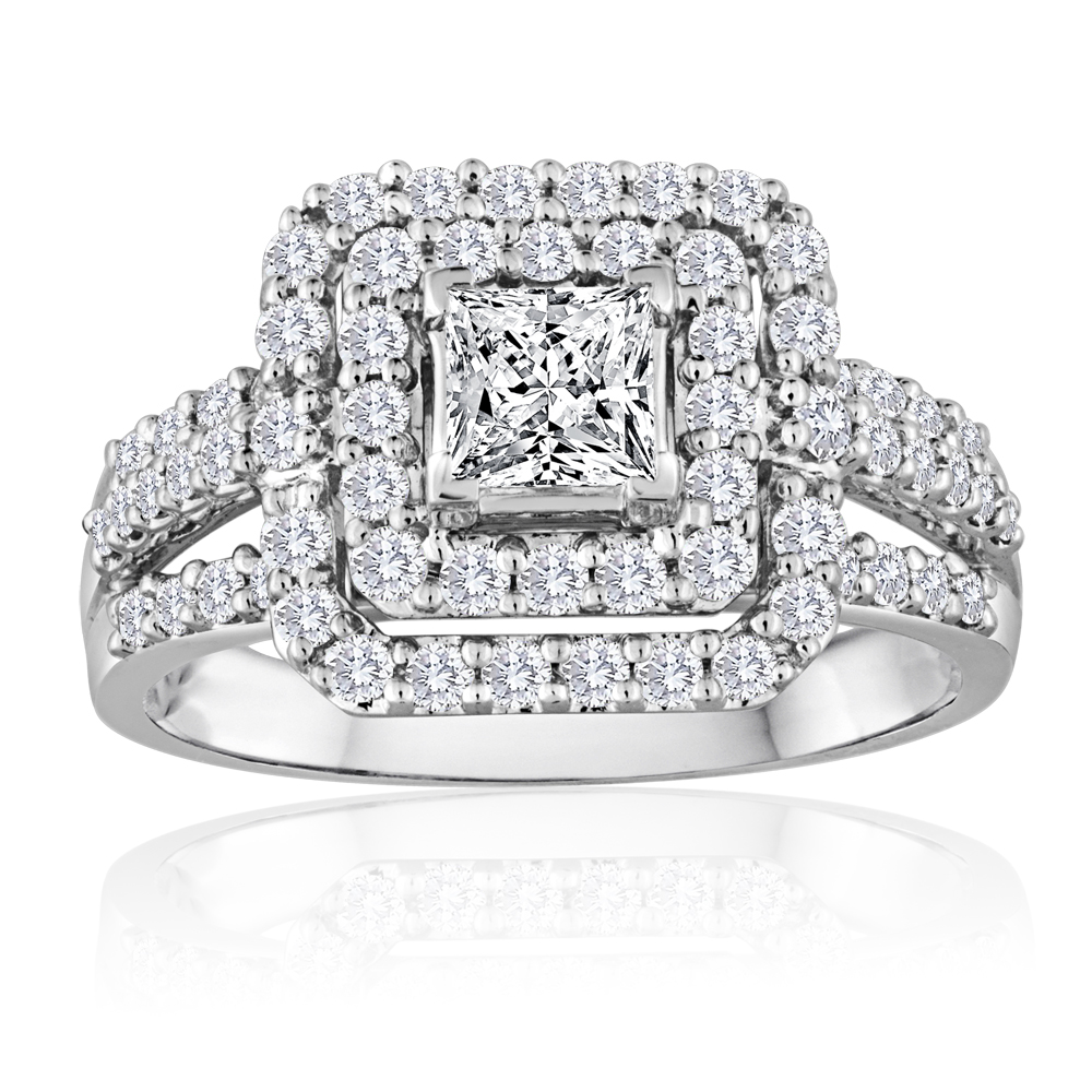 Princess Cut Diamond Double Halo Engagement Ring