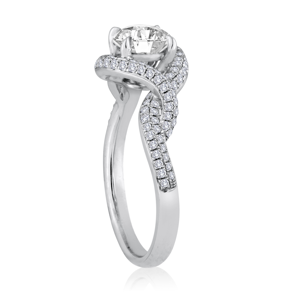 round diamond twisted pave band engagement ring diamond. Black Bedroom Furniture Sets. Home Design Ideas