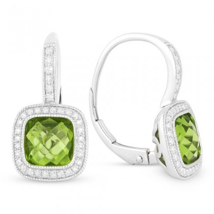 peridot leverback earrings