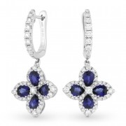 DE10826 sapphire diamond flower earrings