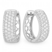 White Diamond Huggie Earrings