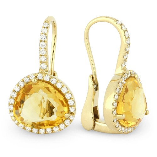 De9869 Citrine Earrings Leverback