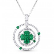 emerald circle diamond pendant