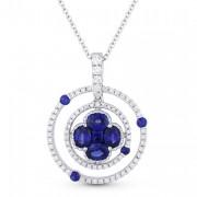 flower circle diamond sapphire pendant