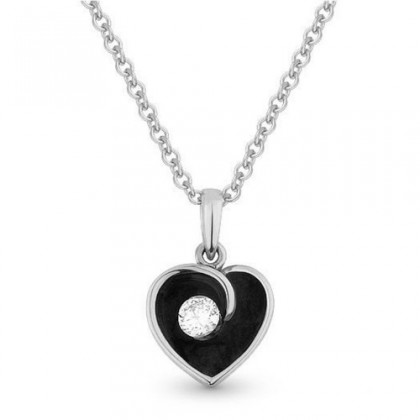 enamel diamond heart pendant