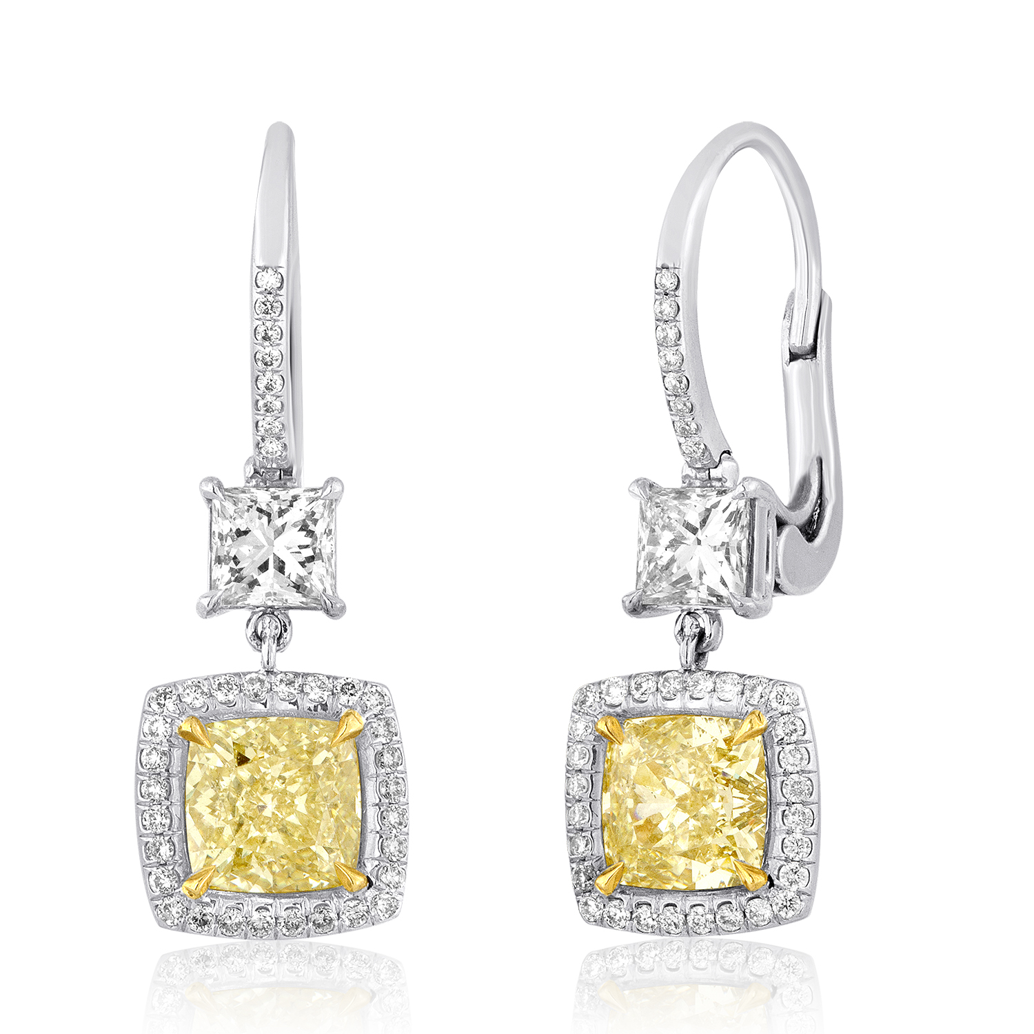 Yellow Diamond Dangle Earring