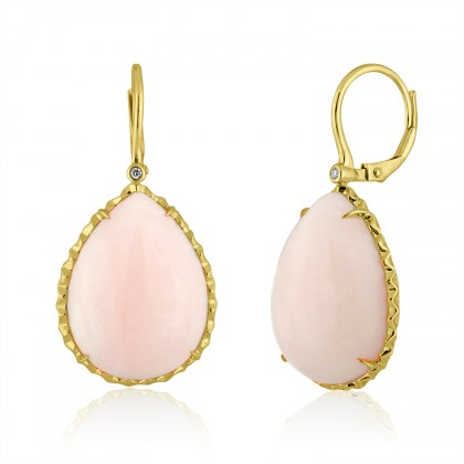pink opal yellow gold earring