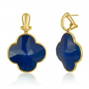 Blue Lapis Clover Earrings