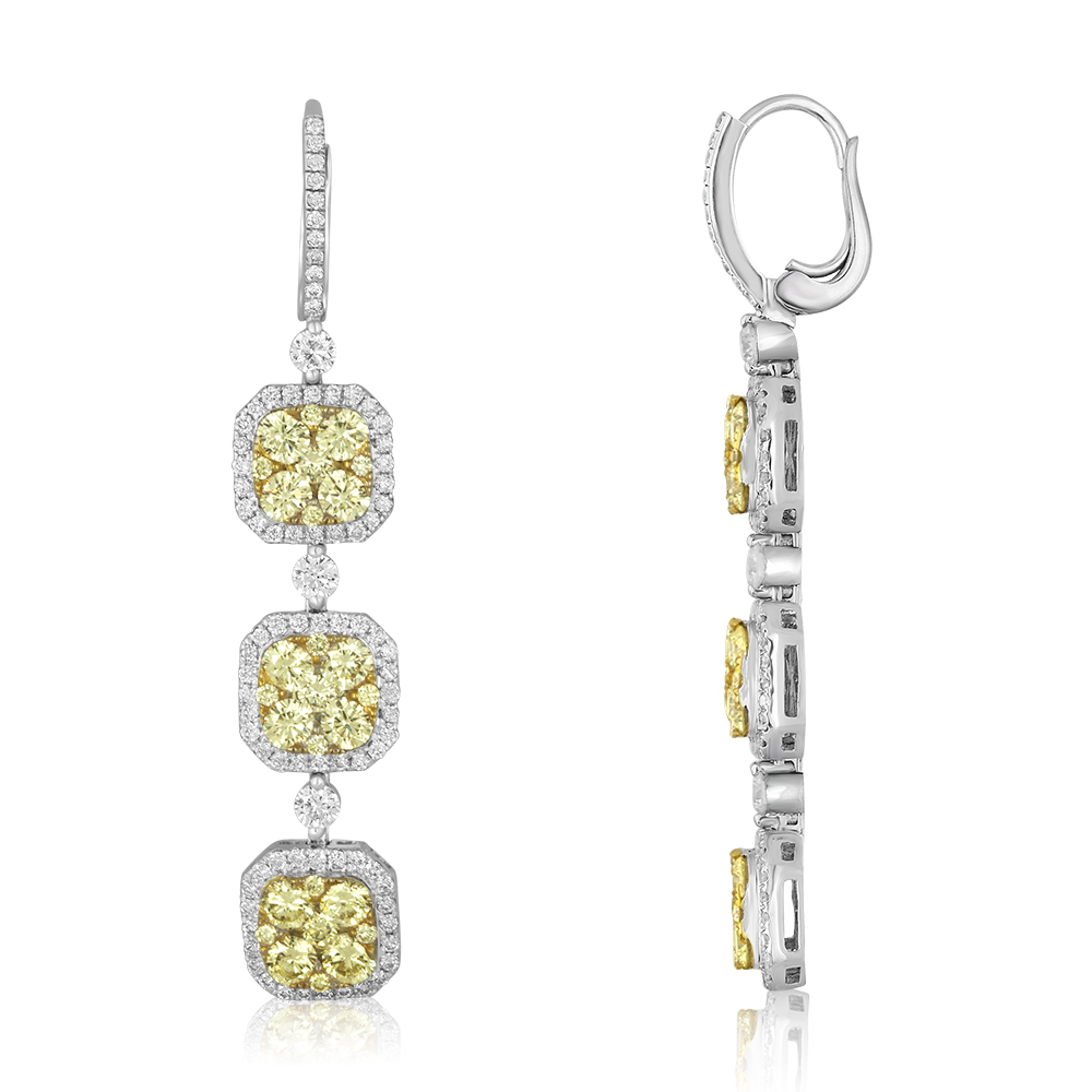 Three Tier Yellow Diamond Dangle Earrings