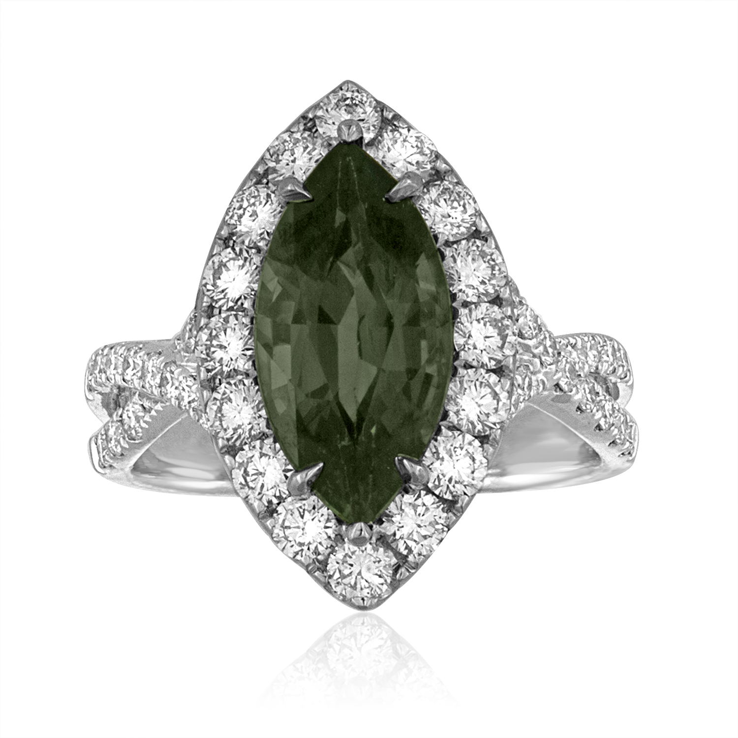emerald unique micro products one of a kind platinum octagonal diamonds ring with diamond copy pave jewelers af green and