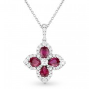 ruby red flower necklace