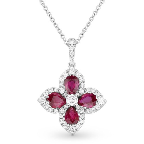 Red ruby flower diamond pave necklace diamond stars ny ruby red flower necklace aloadofball Images