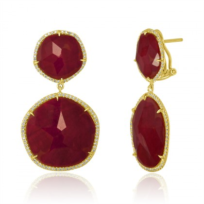 sliced rubies earrings