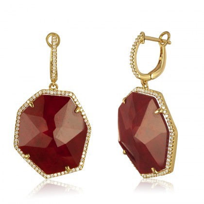 sliced ruby earrings